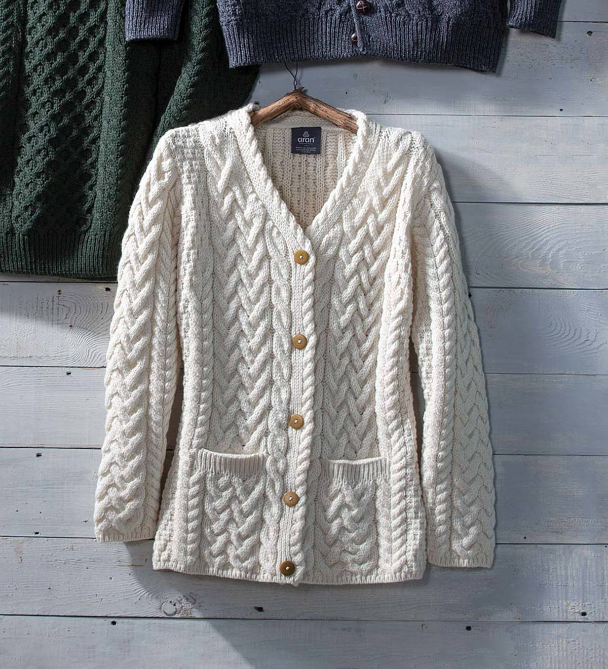 Women's Irish Merino Wool Cardigan Sweater