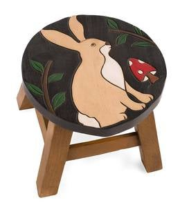 Hand-Carved Wood Rabbit Footstool