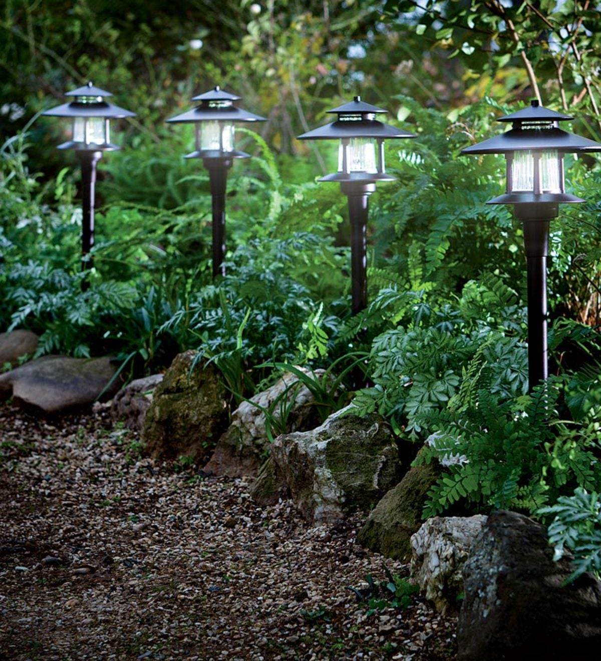 Set Of 4 Solar Path Lights With Remote Solar Panel