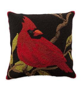 Indoor/Outdoor Hooked Cardinal Throw Pillow