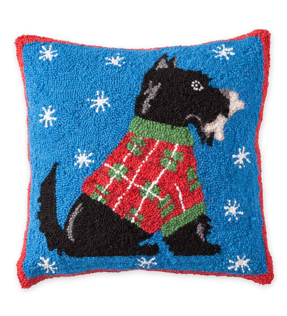 Hooked Wool Holiday Scottish Terrier Throw Pillow