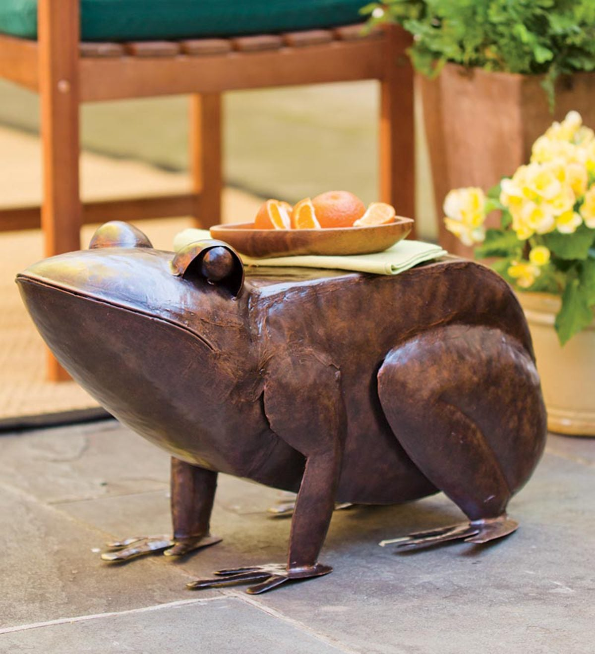 Frog Accent Table In Hand Hammered Iron