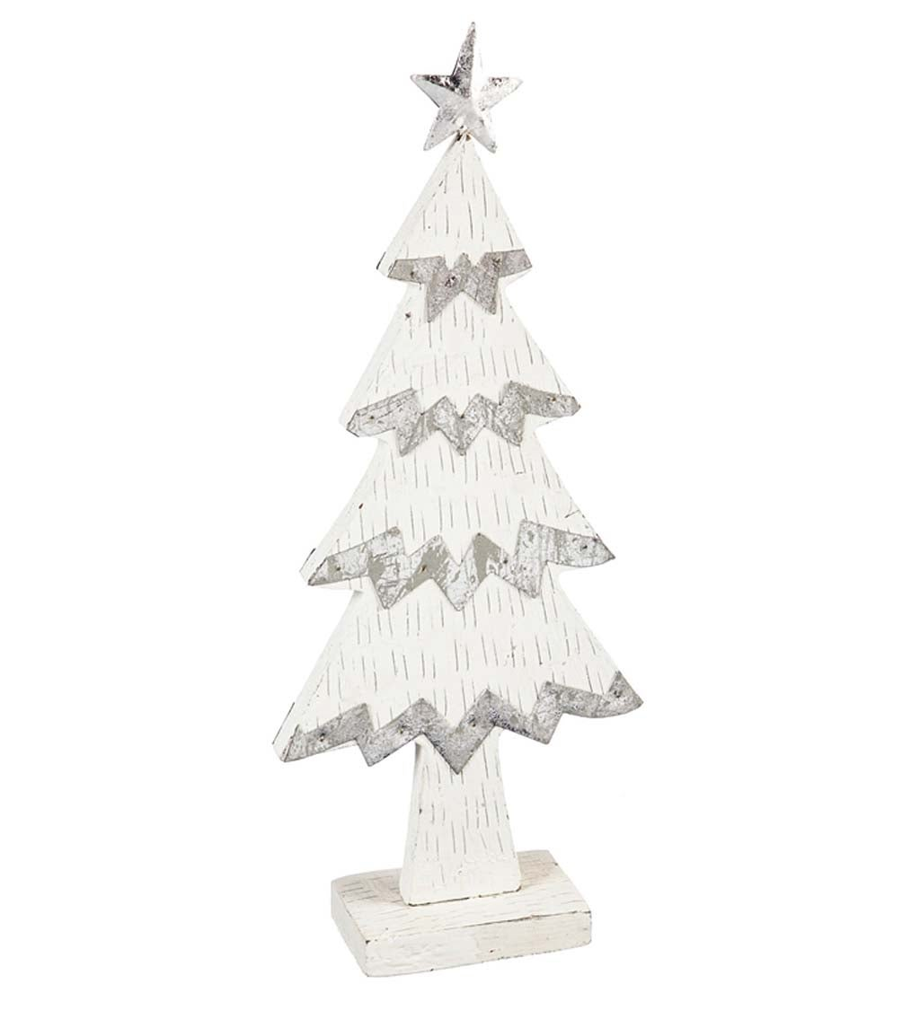 White Wood And Silver Metal Christmas Tree Decor Plowhearth