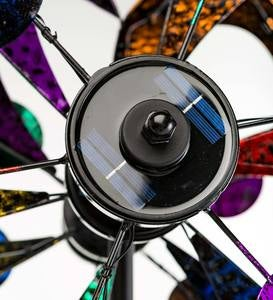 Oversized Multicolor Solar Lighted Gala Wind Spinner with Four Rotors