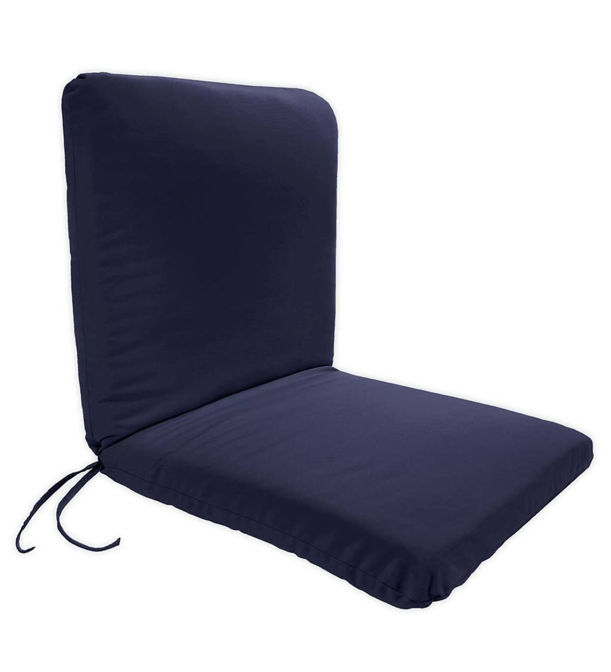 Polyester Hinged Classic Chair Cushion With Ties - Solid Navy