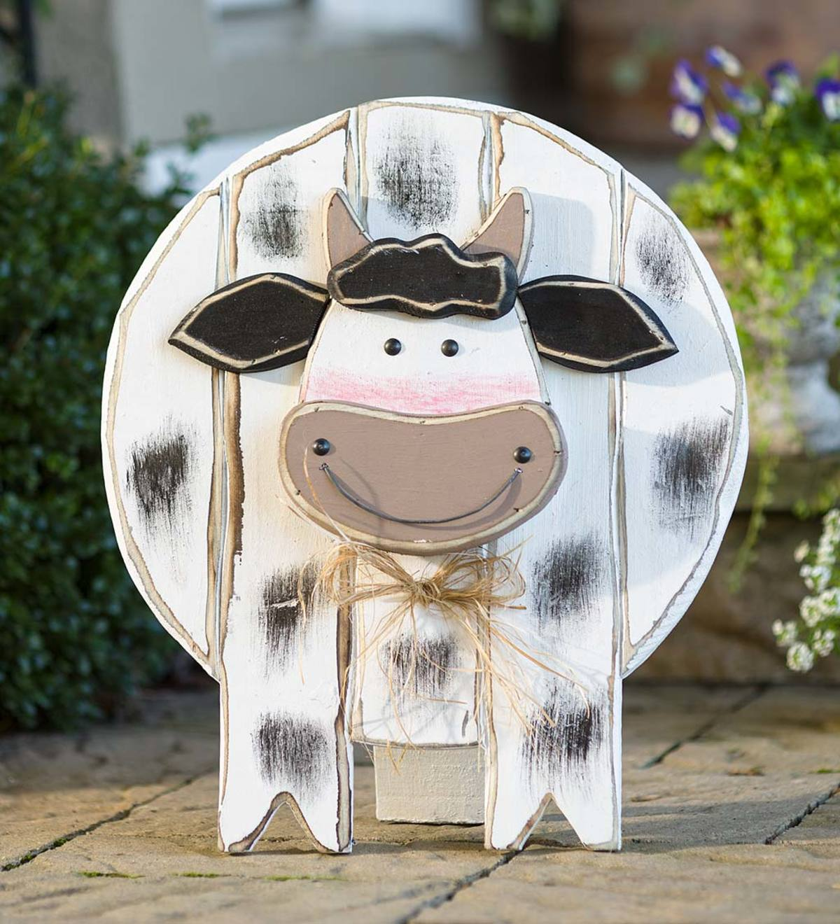 Wooden Cow Standing Hanging Accent Plowhearth
