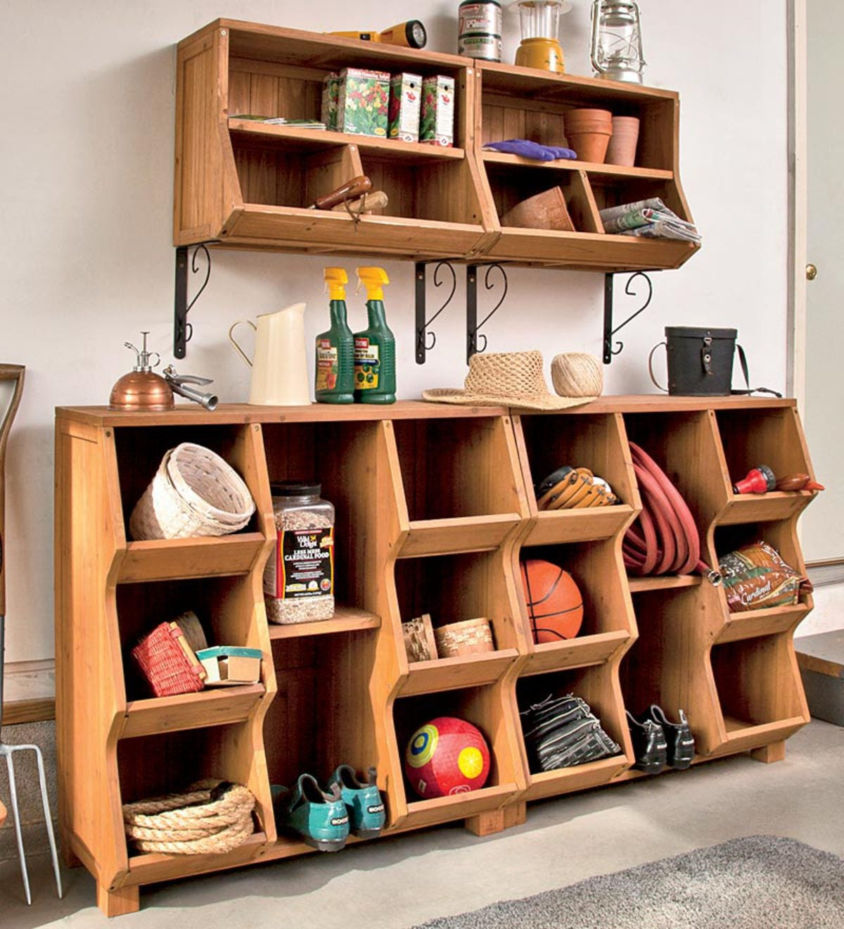 Fir Wood Storage Cubby with Removable Center Shelf