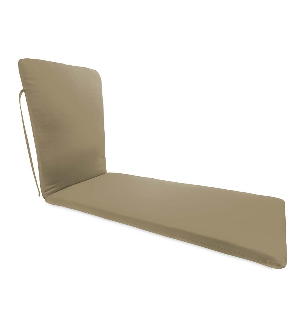 "Sunbrella Classic Chaise Cushion With Ties, 76"" x 23"" x 3"" hinged 47½"" from bottom"