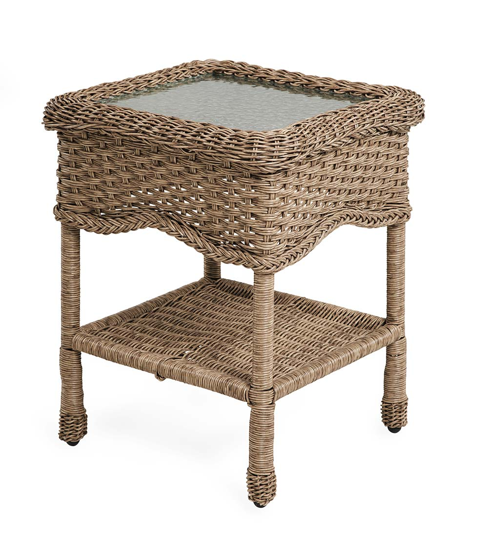 Prospect Hill Wicker End Table with Glass Tabletop swatch image