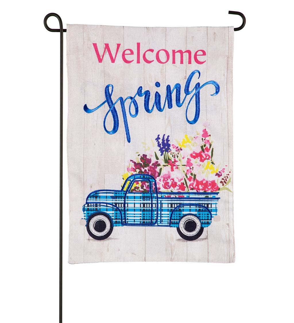 Welcome Spring Plaid Truck Burlap Garden Flag