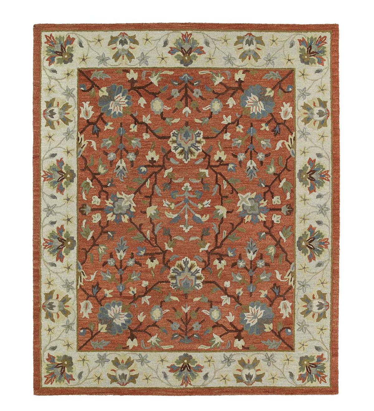 Baroque Glory Wool Rug, 2' x 3' - Brick