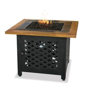 Slate And Faux Wood Outdoor Propane Fire Pit Table