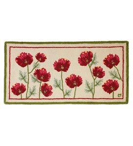 Hand-Hooked Wool Poppy Profusion Hearth Rug
