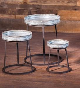 Round Metal Stacking Tables, Set of 3
