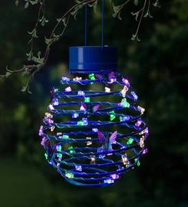 Hanging Spring-Coil Solar Lantern with Butterfly LEDs