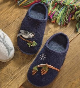 Women's Boiled Wool Slippers With Woodland Motif