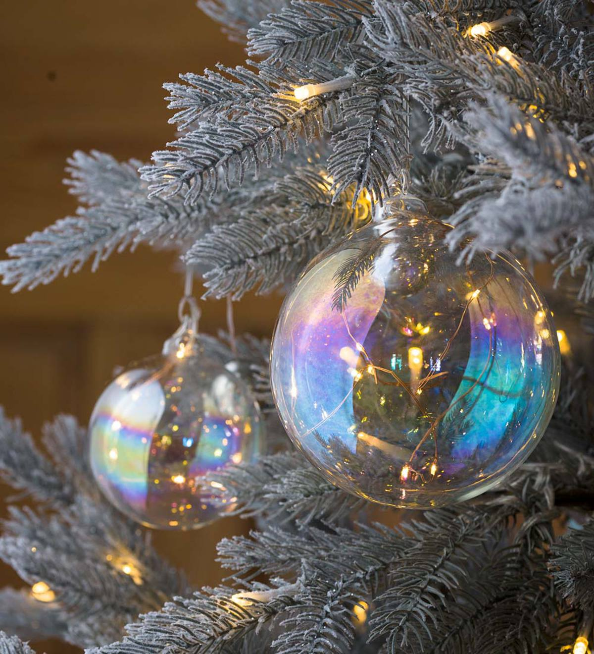 Large Lighted Iridescent Glass Ornament | PlowHearth