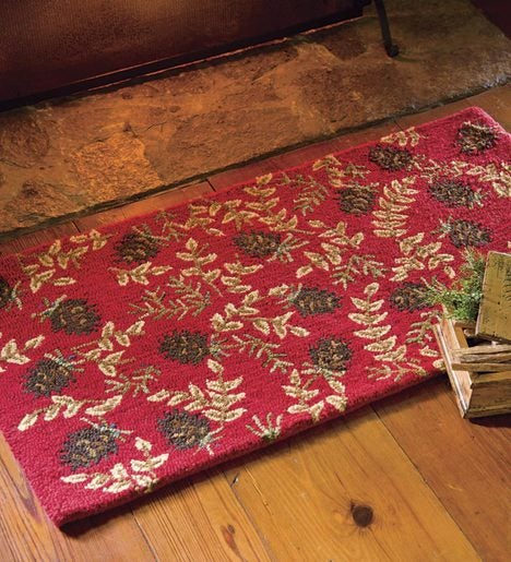 Fireplace Hearth Rug Lowes: Hand-Hooked Fire-Resistant Ruby Cones Wool Rug