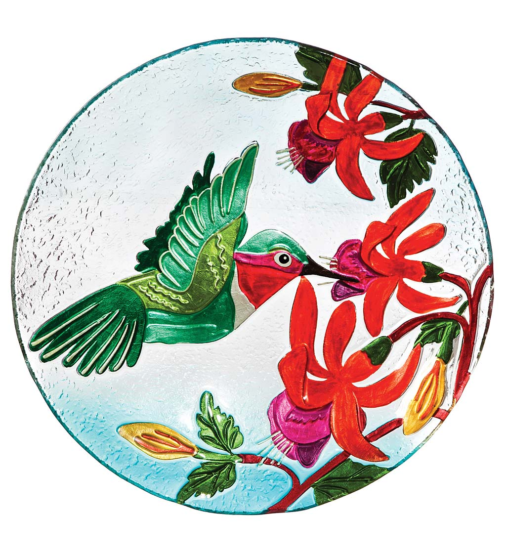 Hummingbird Flutter Glass Birdbath Basin