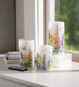 Flameless Pillar Candles with Floral Designs, Set of 3