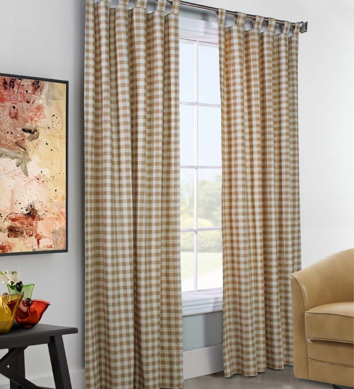 "Sale! 95""L x 80""W Thermalogic™ Check Tab-Top Curtain Pair"