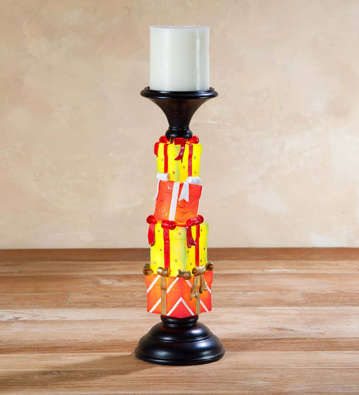 Lighted Holiday Pillar Candle Holders