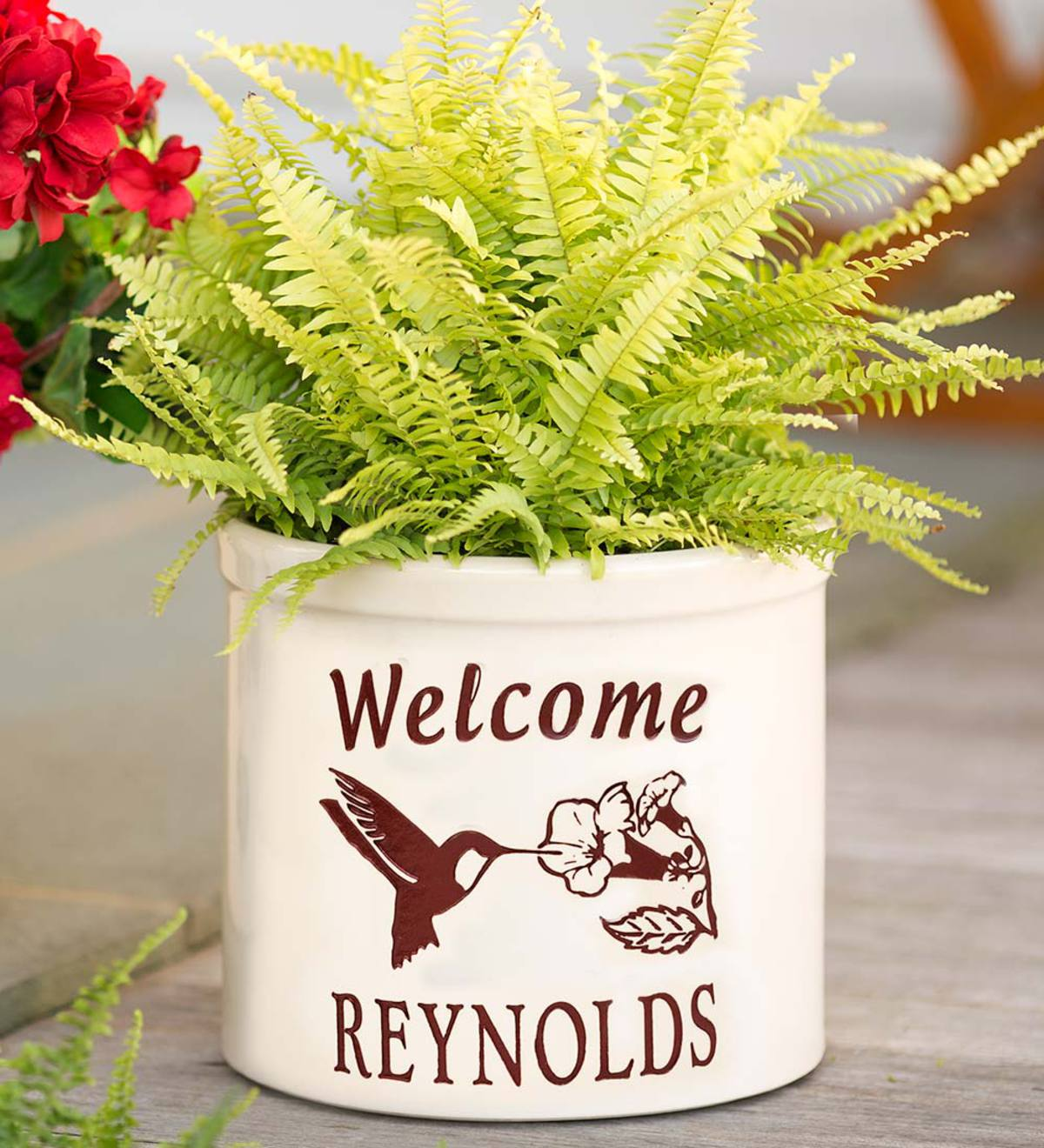 Personalized Stoneware Crock with Hummingbird