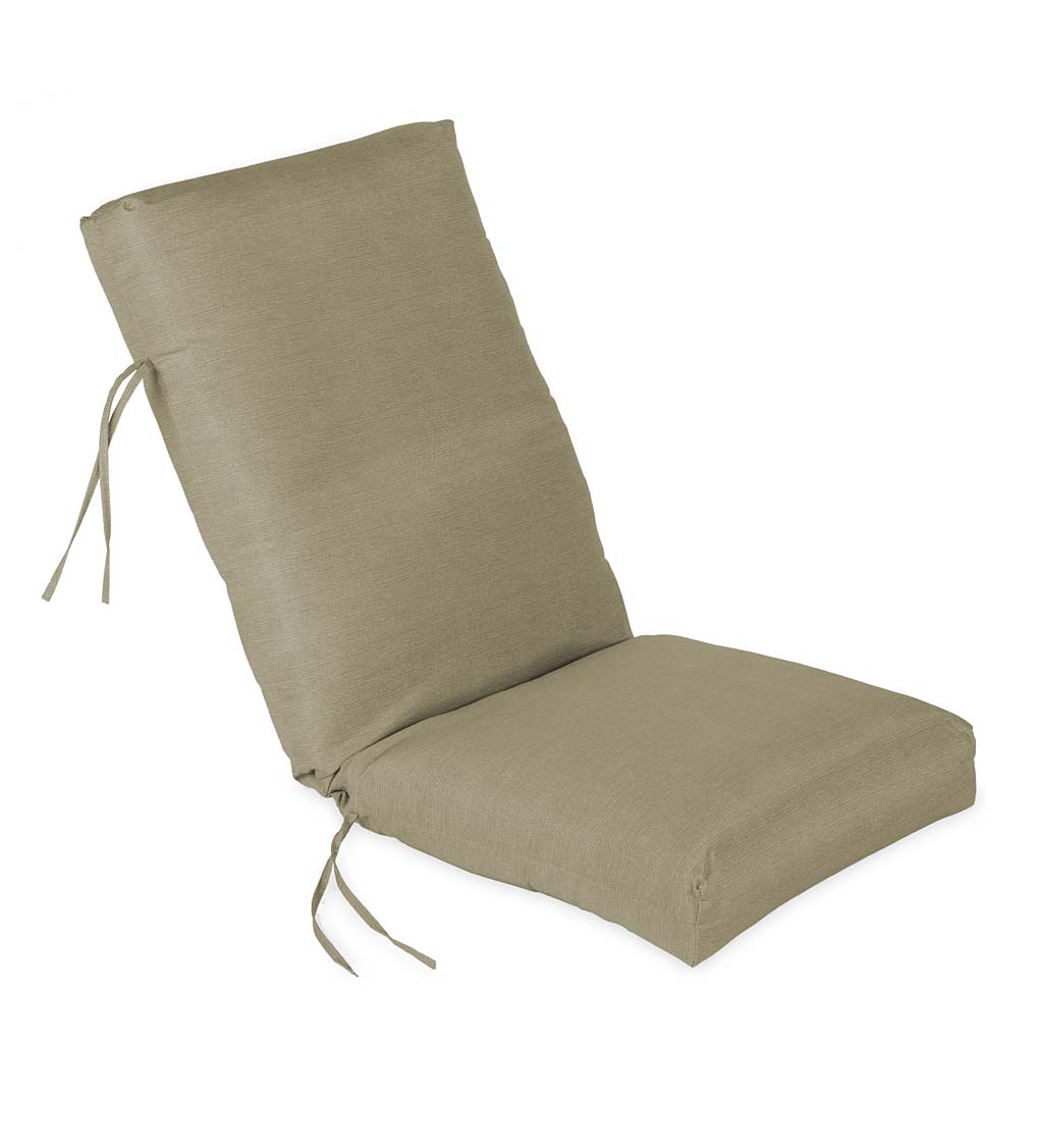 "Sunbrella Classic High Back Chair Cushion With Ties, 46"" x 20"" x 4"" with hinge 19"" from bottom"