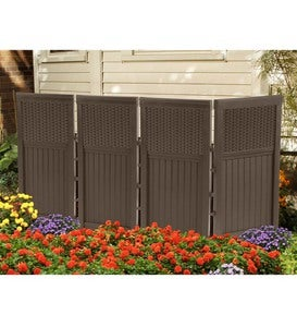 Outdoor Brown Resin Four-Panel Privacy Screen