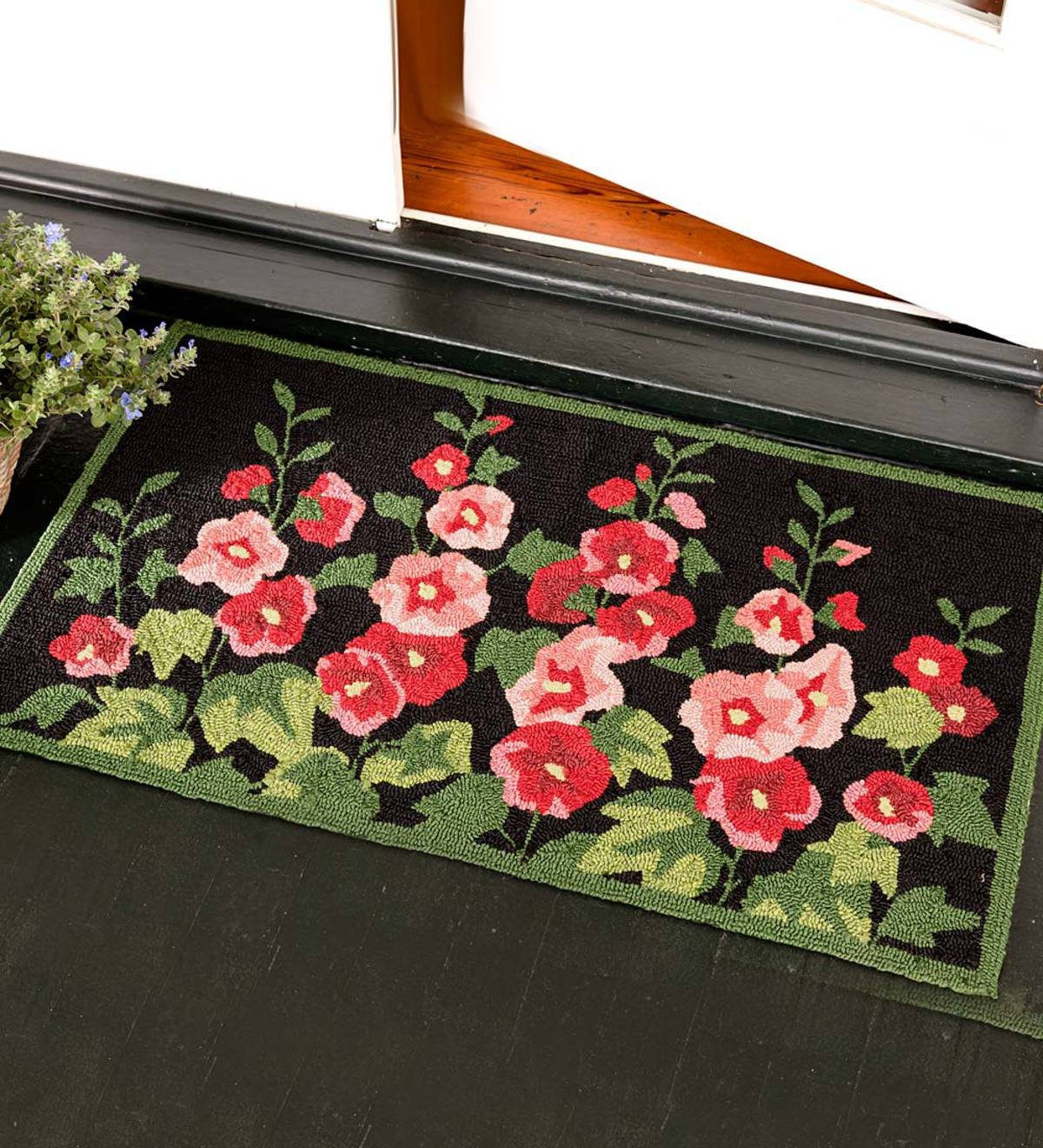Machine-Washable Accent Rug, Hollyhocks