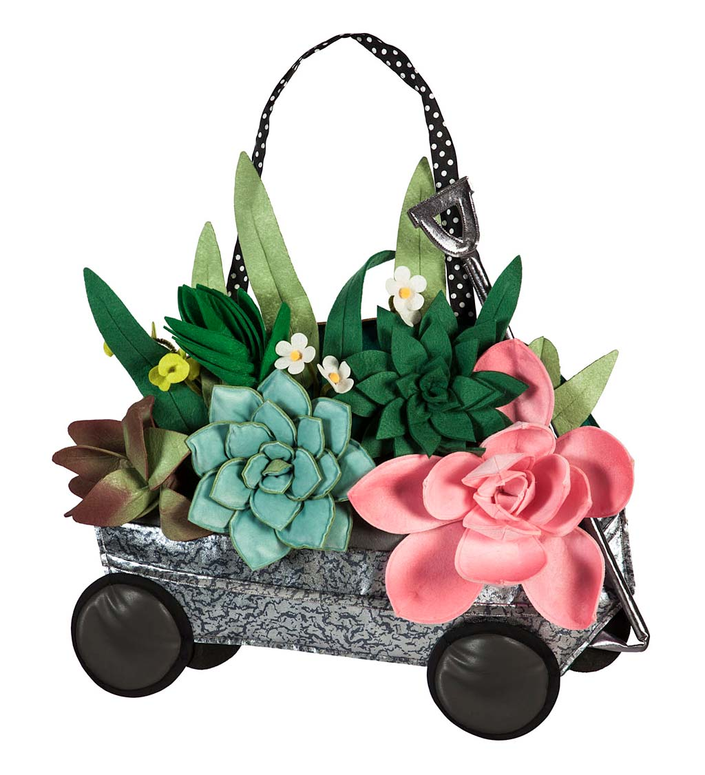Galvanized Wagon with Succulents Door Décor