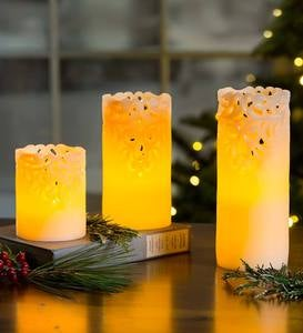 Flameless LED Candles With Lace Detail, Set of 3