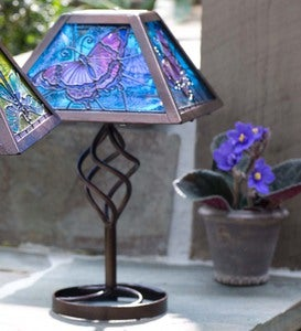 Tiffany Style Solar Outdoor Table Accent Lamp - Butterfly
