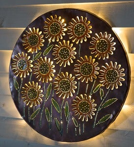 Lighted Sunflower Recycled Oil Drum Lid Wall Art