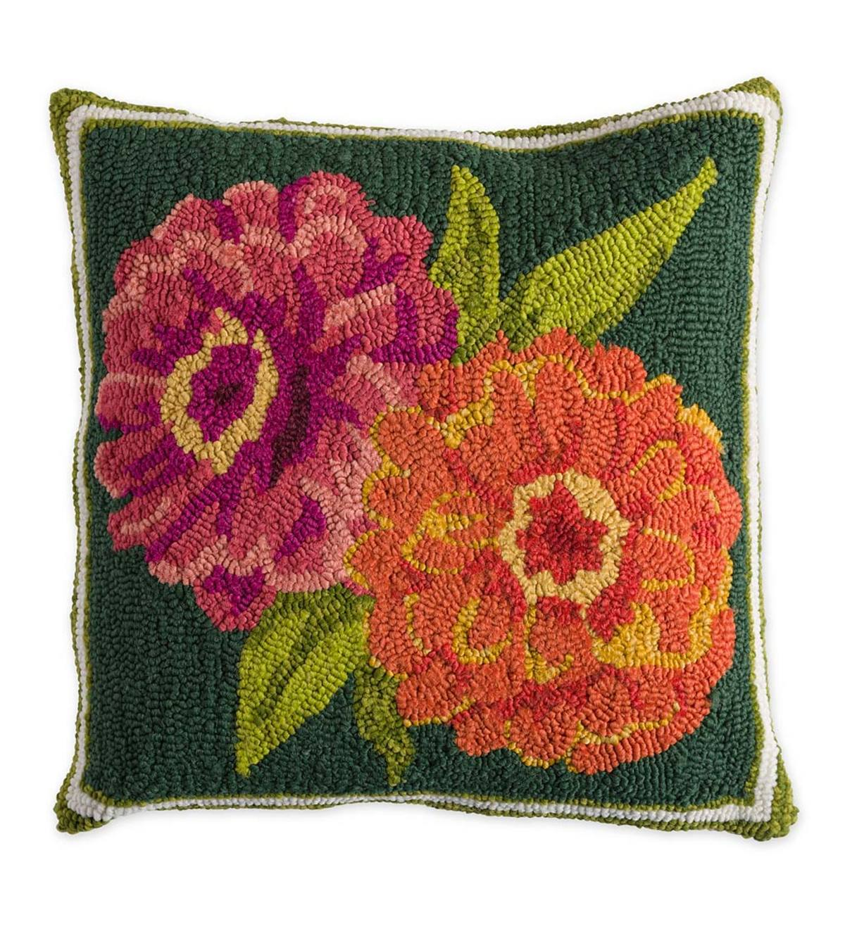 Indoor Outdoor Double Zinnia Hooked Throw Pillow Plowhearth