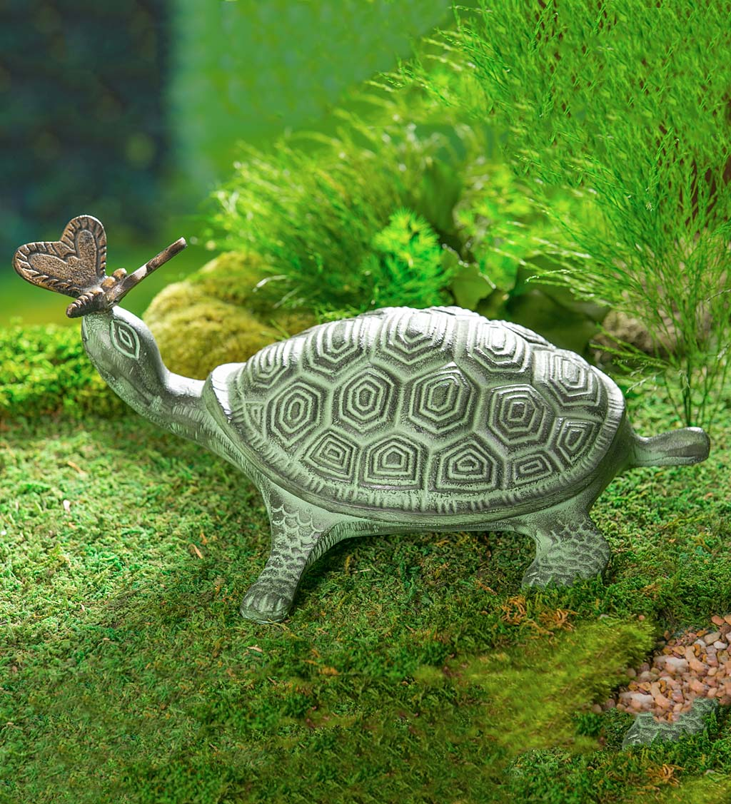 Tortoise and Butterfly Metal Garden Statue