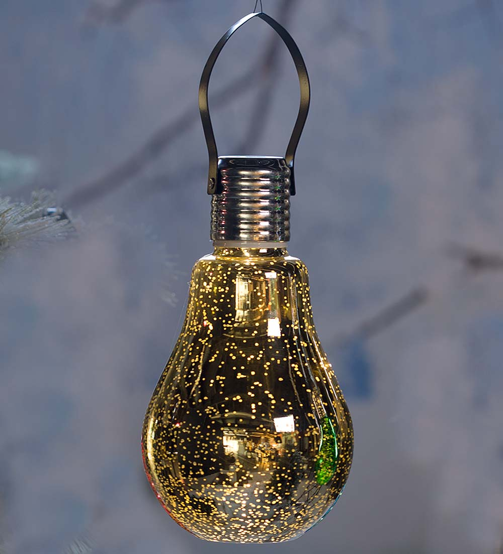 Hanging Mercury Glass Edison Bulb Solar Ornament