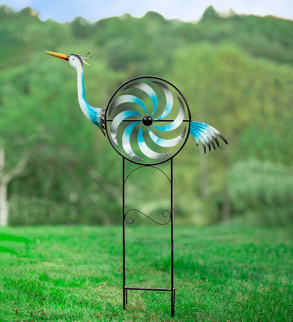 Iridescent Crane Wind Spinner