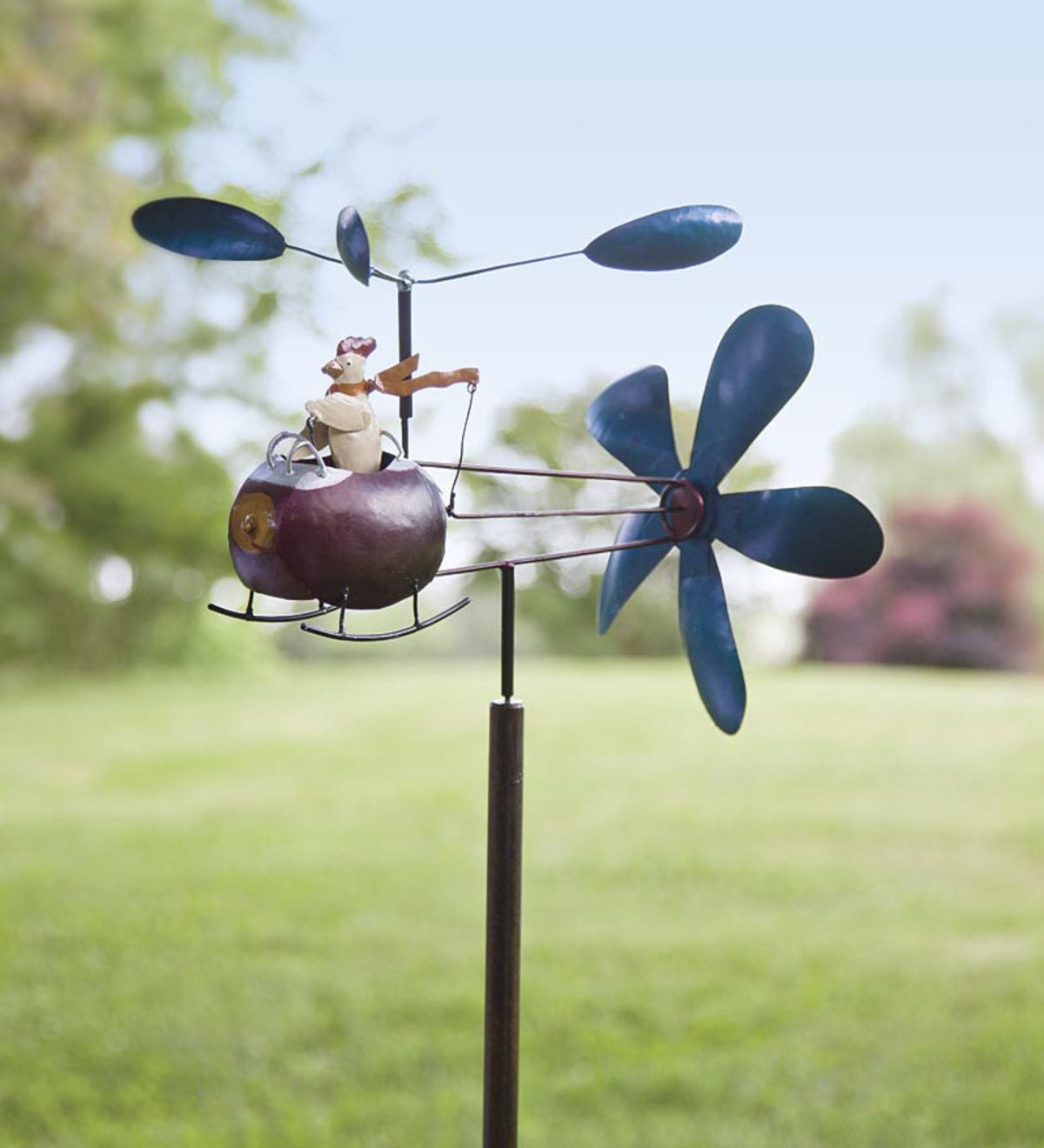 Chicken and Helicopter Recycled Metal Whirligig
