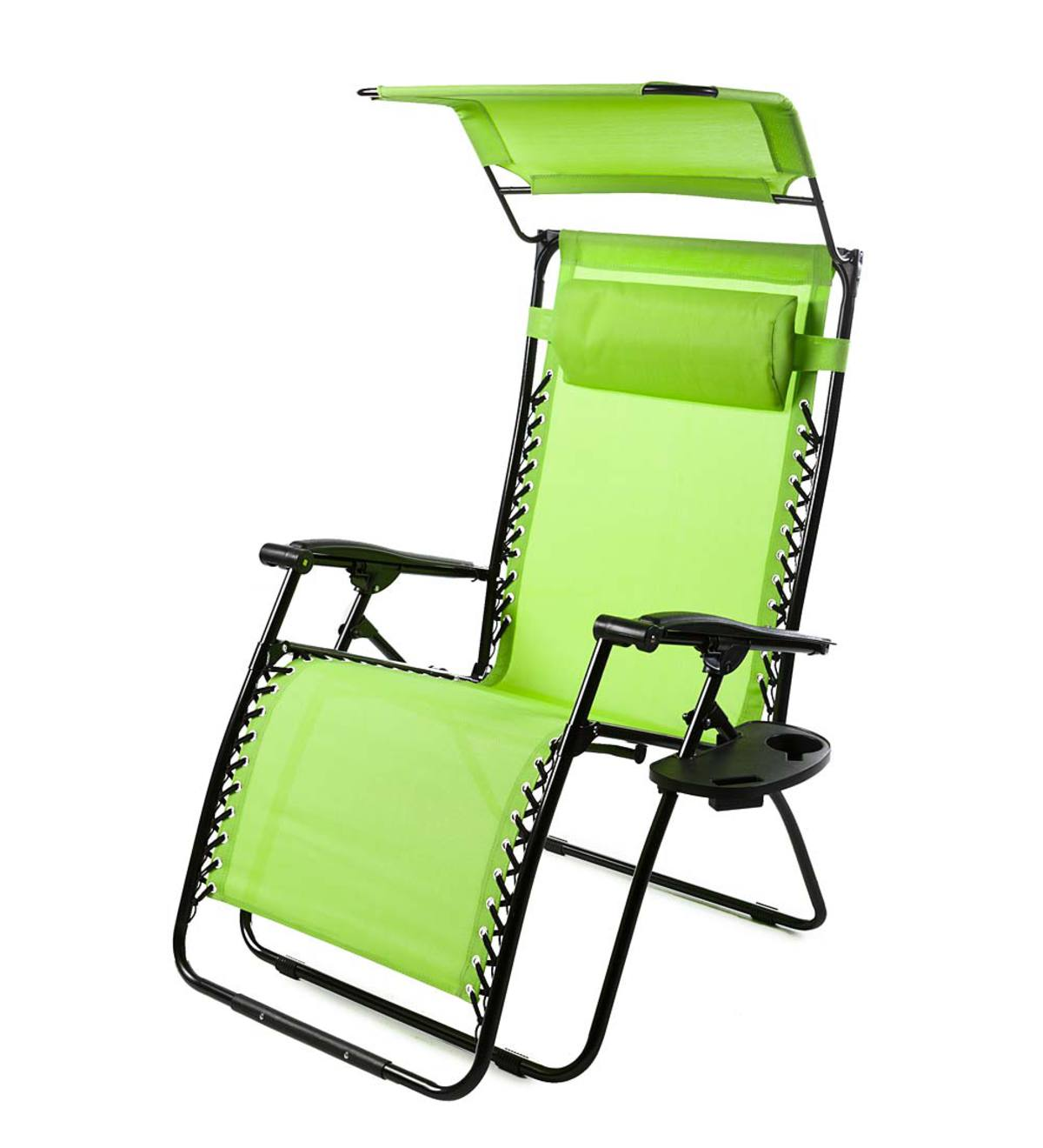 Deluxe Zero Gravity Chair With Awning, Table And Drink Holder - Green