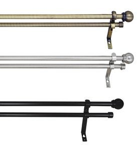 Metal Finish Adjustable Double Curtain Rod Sets With Ball Finials