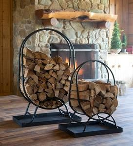 Oval Wood Rack with Kindling Storage and Dirt Tray