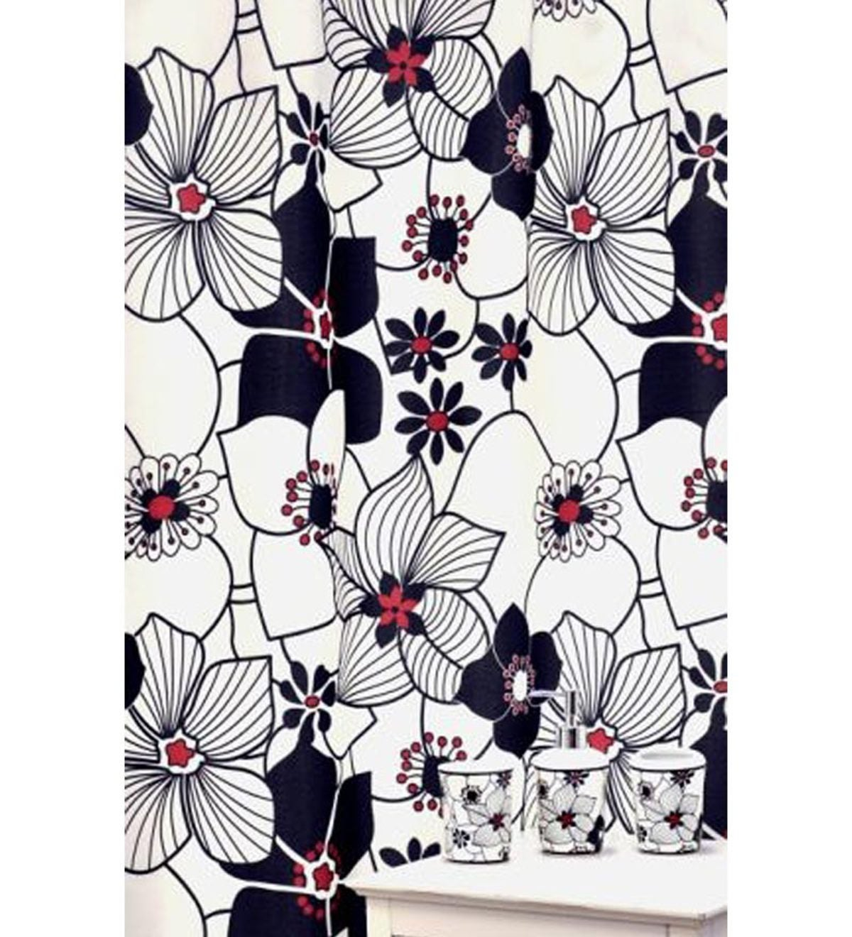 16 Piece Red And Black Daisies Shower Curtain And Bath Accessories Set Plowhearth