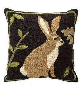 Indoor/Outdoor Woodland Throw Pillow with Rabbit
