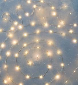 "Firefly String Lights, 60 Warm White LEDs on Silver Wire, Battery Operated, 9'10""L"