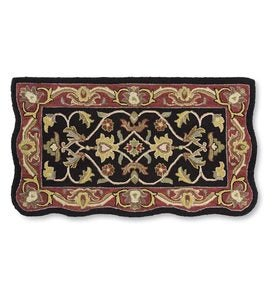 Hand-Tufted Fire Resistant Scalloped Wool McLean Hearth Rug - Black/Red