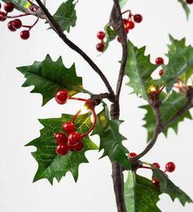 Indoor/Outdoor Holly and Berry Lighted Branches, Set of 2