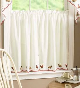 "Rooster Embroidered Cafe Curtains, Swag Pair 56""W x 38""L"