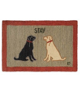 Hand-Hooked Wool Stay Dog Hearth Rug, 2' x 3'