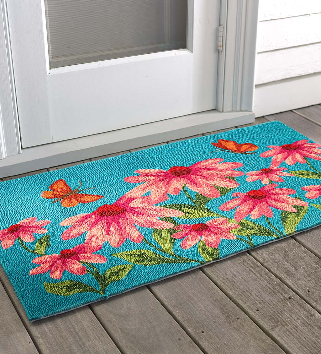 Machine-Washable Accent Rug, Coneflowers